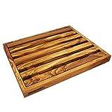 NATUREHOME Design Olivenholz Brotschneidebrett eckig - 30x24x2,5cm antibakterielles und antiseptisches Holzschneidebrett Schneidebrett mit Krümelfach und Krümelgitter aus Massivholz