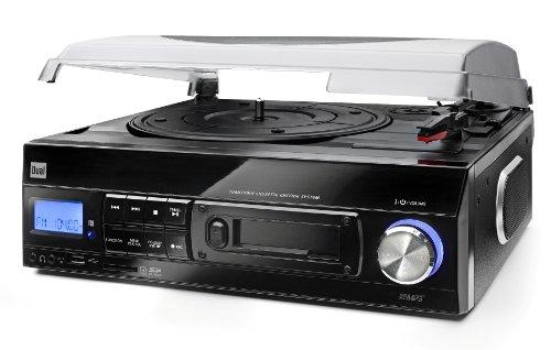 Dual DTTC 100 Schallplatten und Kassetten Player (Direct-Encoding, eingebaute Lautsprecher, Plattenspieler, Kassettendeck, USB, SD-Card, LCD-Display, AUX-IN) mit eingebauten Boxen schwarz