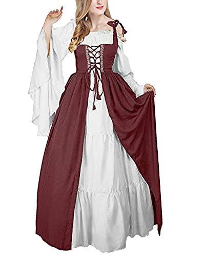 ShiFan Mittelalter-Kostüm Damen Lange Kleider Große Größen
