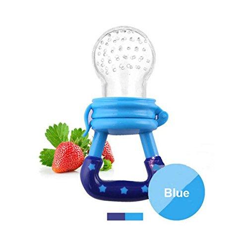 Fruchtsauger, Tinabless Silikon Schätzchen Schnuller für Obst und Gemüse für Babys 6-12 monate, Bpa Frei,Blau