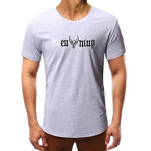 friendGG_Top Mode FüR MäNner Casual Sommer Print Kurzarm Oansatz Tops Bluse T-Shirt T-Shirt, Licht Und Atmungsaktiv Sport Gym Kleidung Weste MäNnliche Erwachsene Strand Wandern Druck Tees Hemd
