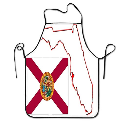 zexuandiy Aprons Bib For Indoor Restaurant Cleaning Serving Crafting Gardening Baking BBQ Grill 20.4 * 28.3 inch florida state map flag outline white inset
