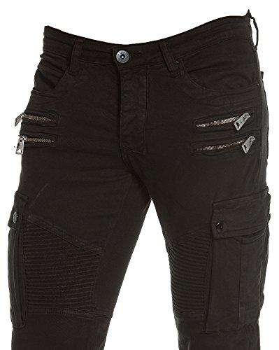 BLZ jeans - Schwarz Biker Jeans Multi-Pocket-Mann Schwarz
