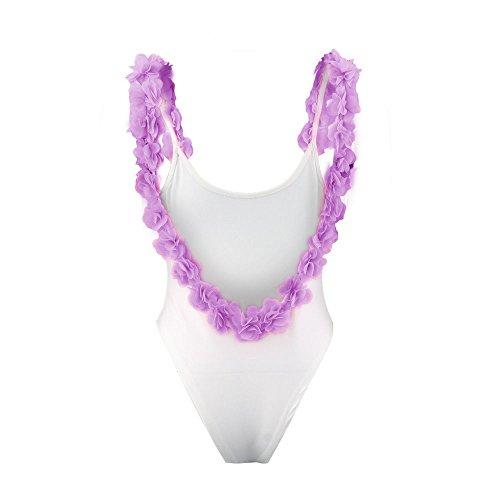 Italily - Floral Beach Backless tuta bikini Viola