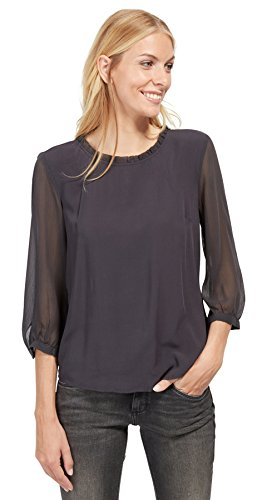 TOM TAILOR Damen Bluse Fluent Fabric Mix Blouse Coal Grey