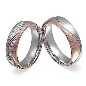 Adomio -Ringe 2 Trauringe Verlobungsringe Edelstahl Rosegold vergoldet – ca. 15 Zirkonia weiss gratis Wunschgravur E-FT-HD