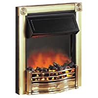 Dimplex Horton 2kw Inset Electric Fire Brass Effect Finish c/w Real Coal Effect