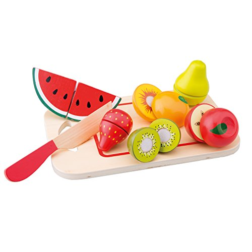 New Classic Toys - 10579 - Kinderrollenspiele - Schneideset Früchte mit Brettchen