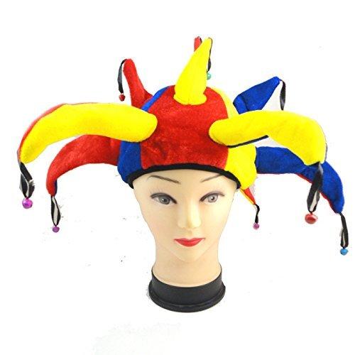 Narrenkappe Mittelalter Clown Hofnarr Mütze Hut mit Glocken - Kostüm für Erwachsene - perfekt für Fasching, Karneval & Halloween - Einheitsgröße Damen (Hofnarr Kostüm Halloween)