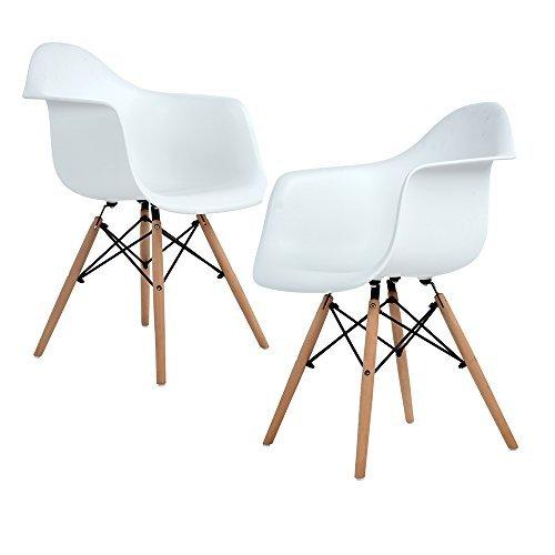 Ajie Lot von 2 Esszimmerstuhl, Retro Stuhl Beistelltisch mit solide Buchenholz Bein - weiß