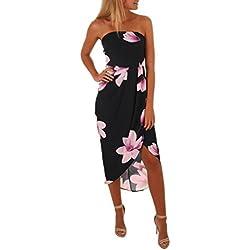 Siswong Vestido de mujer, Vendimia Boho Estampado de flores Fuera del hombro Vestido maxi playa verano (XL, Negro)