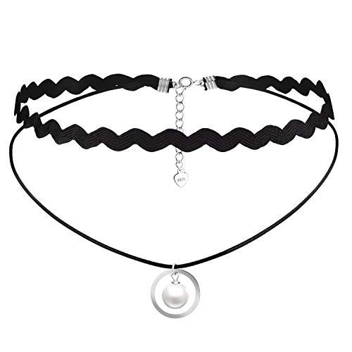 RED TREE Halsketten für Frauen, Echtem Leder Geflochtene Seil Choker Halskette mit 7cm S925 Sterling-Silber-Verlängerung, Verstellbare Schwarz Choker Halsband...