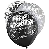 Black/Silver Glitz 21st Classy Birthday Bunting Flags, Special Occasion, Party Decoration - Bunting Flags One Sided 12FT - Boys/Girls Birthday Supplies (6/Pack Black Silver White)