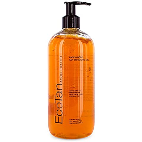 EcoTan Accelerator Face and Body Tanning Gel, Optimises Natural Tan, For Outdoor and Indoor Tanning, Can Be Used With Sunbeds