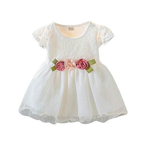 0-3Years Kleinkind-Baby-Art Und Weise Mit Rüschen Besetzte Spitze-Blumentüll-Kleid-Prinzessin Dresses Summer Clothes,White-6-12Months -