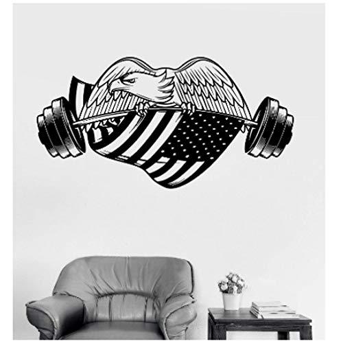 Gym American Eagle Amerikanische Flagge Vinyl Wandaufkleber Bodybuilding Fitness Universität Schlafsaal Wohnkultur Kunst Aufkleber 111X57 Cm -