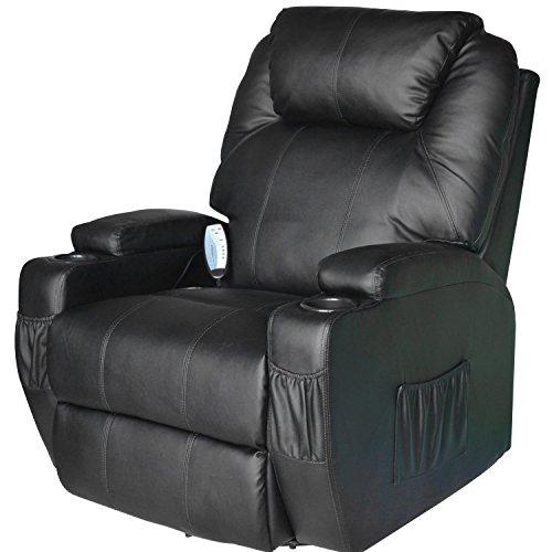 Homcom poltrona dondolo da massaggio poltrona massaggiante reclinabile girevole a 360°in simipelle 84 x 92 x 109cm nero