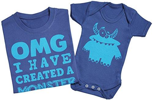 OMG I've Created a Blue Monster! - Passende Vater Baby Geschenkset - Herren T-Shirt & Baby Strampler / Baby Body Grau