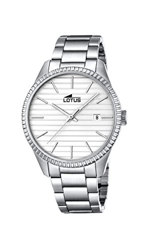 Lotus Unisex Quartz Watch with Silver Dial Analogue Display and Silver Stainless Steel Bracelet 18299/1