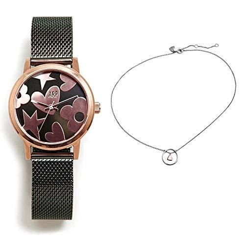 Set Agatha Ruiz de la Prada Agr252 Grün Stahl Uhr-Silber-Halsband Pink Heart Aro 925m Act - Modell: Agr252