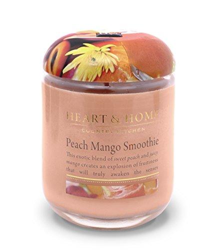 Heart & Home Duftkerze im Glas, Duft Pfirsich-Mango-Smoothie, groß