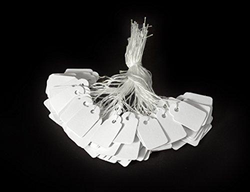 Weiße Mini Anhängeschilder 100 Stk. Blanko Papier inkl. Schnur Faden als Preisschilder Namensschilder Kleidung Weiß Schilder aus Kraftpapier Karton Basteln Selbstgestalten Feste Hochzeit Geschenke