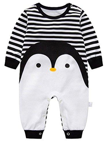 Minetom Verdickte Warm Unisex Baby Overall Strampler Herbst Winter Jungen Mädchen Schlafanzug Säugling Spielanzug Kinder Nachtwäsche Pinguin 80 (Penguin-schlafanzug Für - Mädchen)