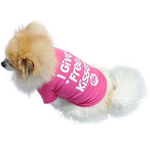 Hawkimin Haustier Ärmelloses Weste i give Free Kisses Volltonfarbe Beiläufig Hunde T-Shirt Welpen Hunde Kostüm Bekleidung Pullover Hündchen ()