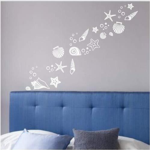 Decoración de la habitación con tema de playa - Juego de 30 calcomanías de pared de lujo concha de playa, vinilos de vinilo de concha de mar