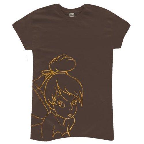 Old Glory Tinkerbell–Face Junioren T-Shirt Gr. Medium, braun (Tinkerbell T-shirt Tee)