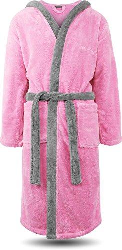 normani Flauschiger Fleece Bademantel mit Kapuze und Taschen Oeko-Tex® 100 Farbe Rosa/Silber Größe M