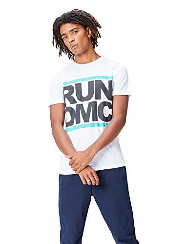 find. Herren T-Shirt mit Run DMC-Print, Weiß (White), Medium