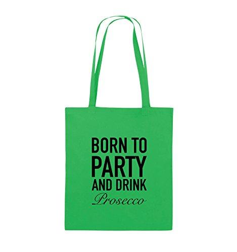 Comedy Bags - BORN TO PARTY - Prosecco - Jutebeutel - lange Henkel - 38x42cm - Farbe: Schwarz / Silber Grün / Schwarz