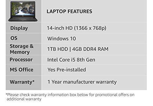 Dell Vostro 3478 Intel Core i5 8th Gen 14-inch Laptop (4GB/1TB HDD/Windows 10 Home/MS Office/2GB Graphics/Black/2kg)