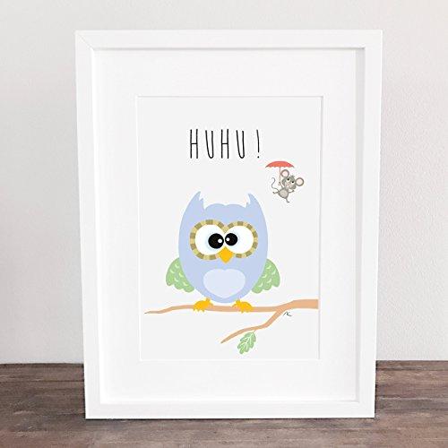 """Bild Poster Deko A4 Kinderzimmer Poster, Motiv: \""""Huhu...Eule mit Maus\"""" ungerahmt"""
