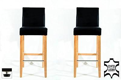 2x Barstools wood black REAL LEATHER adjustable floor glides upholstery