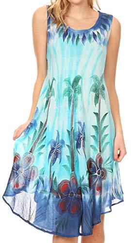 a Frauen Tie Dye ärmellose Kaftan Kleid Sundress Flare Blumendruck - Blau/Türkis - OS ()