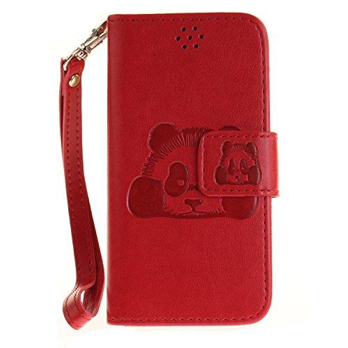 Qiaogle Téléphone Coque - PU Cuir rabat Wallet Housse Case pour Apple iPhone 5 / 5G / 5S / 5SE (4.0 Pouce) - TX34 / Cute Panda TX56 / Rouge Classique affaires Style + Panda