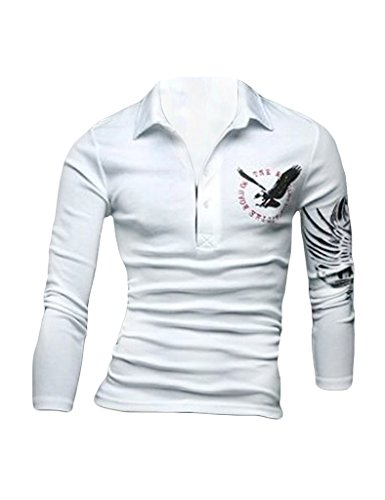 Legou Herren Hemd Kurzarm Polohemd Poloshirt Kentkragen slim fit casual Shirts Weiß