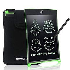 Idea Regalo - NEWYES Tavoletta Grafica LCD con Custodia, 8.5 Pollici Tablet da Disegno Lavagna Elettronica Scrittura Digitale, Diversi Colori per Bambin(Verde+Caso)
