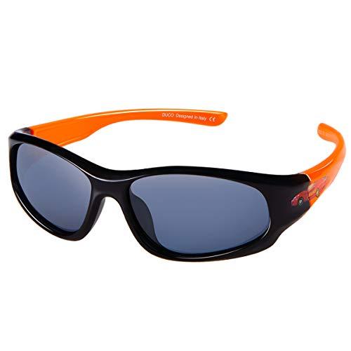 DUCO kinder sport style polarisierenden sonnenbrillen flexiblen rahmen für die jungen und mädchen (Schwarz/Orange) -
