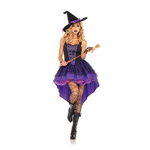 Koola Damen-Kostüm Hexe für Erwachsene Violett mit 1 Hut und 1 Schwalbenschwanz für Party Cosplay ()