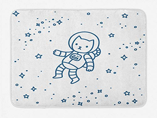 KAKICSA Cat Bath Mat, Cute Cartoon Astronaut Pioneer Cat Flying in Outer Space Doodle Style Constellation, Plush Bathroom Decor Mat with Non Slip Backing, Dark Blue,19.6X31.4 inch