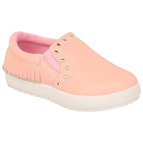 Mädchen Kinder Kunstleder Look Nietenbesetzte Slipper Pumps Turnschuhe Schuhe By Kelsi Pink - XD1621
