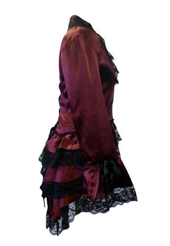 Veste de Satin.Style d'un Corset. Tournure de 3 Volants. Gothic Steam-Punk Victorien. Tailles 36-58 Rouge Dentelle Noire