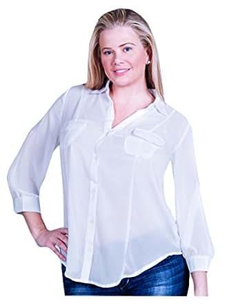 Weiße (Blk Cage Top) transparente Bluse/Überbluse mit Offen Rücken. Gr 44