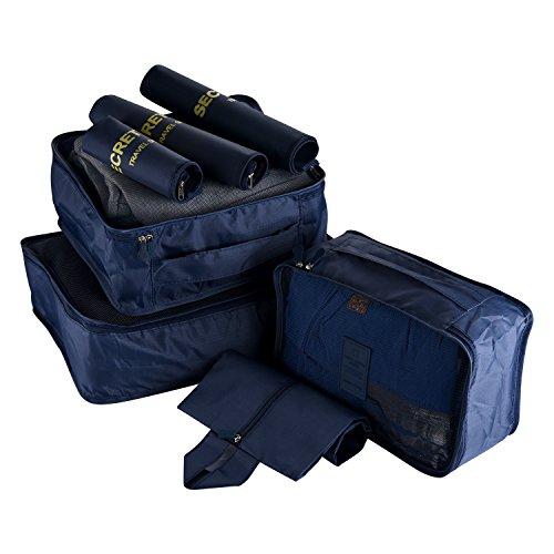 Kofferorganizer Packtaschen,7-teiliges,Wasserfestes Packwürfel Set für platzsparenden Transport von Gepäck auf Reisen und Geschäftsreisen (Dunkelblau) (Reisetasche-gepäck-set)