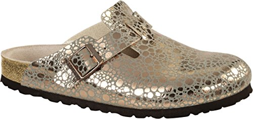 BIRKENSTOCK Boston BF Metallic Stones Damen Clogs&Pantoletten,Frauen Pantoffel,Hausschuh,Shiny,Orig Fußbett,Gold,EU 42S
