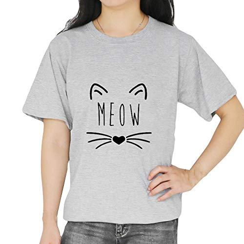 TOPKEAL Camisas Mujer Manga Corta Dibujos Animados Gato De ImpresióN El Verano Blusas Mujeres Tanque Crop Tops Camisetas Moda Sexy (Gris, XL)
