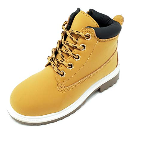 Kids Girls Boys Teens Casual Lace-up Ankle Biker Boots Durable Inside Zip Size 10-2.5